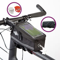 BTR Waterproof Bike Frame Bag Bicycle Phone Holder With Front & Rear Bike Lights