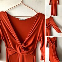 M&S Red Copper Sienna stretch Flare Dress 10 Fall Autumn Smart Casual