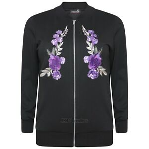 LADIES WOMENS FLOWER EMBROIDERED BOMBER JACKET PLUS SIZE 14 16 18 20 22 24 26 28