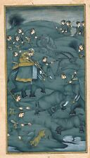 Hand Painted Mughal Hunting Art & Painting Finest Detailed Art On Old Paper