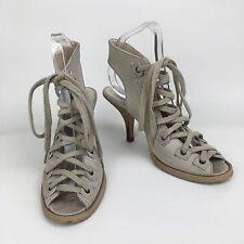 Ladies Beige Leather Lace Up Heels By Office London Size Uk 4 Eu 37