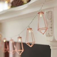 1.3m Indoor Battery Power Rose Gold Cage Fairy Lights LED | Industrial Geometric