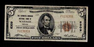1929 Wabash Indiana $5 National Banknote Charter 6309 VF