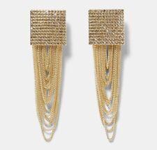 Earring Boho Festival Party Boutique Uk Gold Chain Long Drop Geo Tassel Fashion