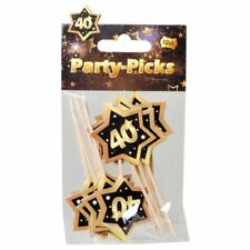 "Party Picks Mini Stecker ""40"" Schwarz/Gold Partydeko Geburtstags Deko Buffet"