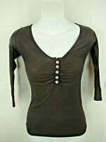 Michael Stars One Size Women's Brown Long Sleeve Button  Shirt Top