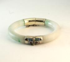 Antique Large Chinese Carved Jade & Enamel Bangle Bracelet Sterling Silver