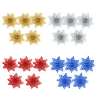 5-6pcs Glitter Christmas Flower Butterfly On Xmas Tree Holiday Party Decor