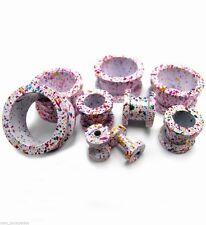 """Tunnels 12mm/1/2"""" Gauge Body Jewelry Pair-Splatter Confetti Steel Screw On Ear"""