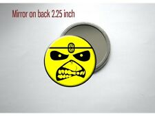 "Eddie the Head Iron Maiden Smiley Face Metal 2 1/4"" Pocket/Purse Mirror"