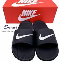 NIB SIZE 14 MEN Nike Air Kawa Slides Sandals Logo Swoosh BLACK WHITE Slippers