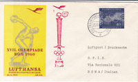 Lufthansa frankfurt to rome 1960 olympics  air mail fight stamps cover ref 19759