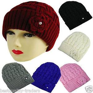 KNITTED BEANIE HAT WINTER WARM WOOLY  LADIES SKI SKULL CAP HAT