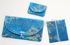 Charm Beautiful girl's Embroidery Flower Blue SILK PURSES/BAG