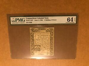 CONNECTICUT JUNE 1780 COLONIAL BANKNOTE PMG 64 EPQ 1 SHILLING, 3 PENCE S/N 4439