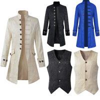 Herren Retro Steampunk Mantel Gothic Mantel Gehrock Viktorianisch Smokinghemd