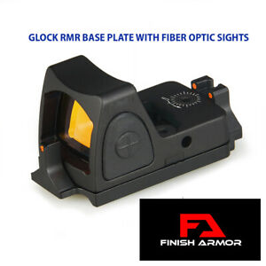 Glock RMR Red Dot Sight Base Mount with Fiber Optic Sights Fits all Glocks
