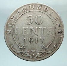 1917 CANADA Newfoundland UK King George V Genuine SILVER 50 CENTS Coin i80798