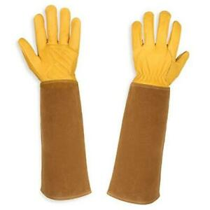 Gardening Gloves for Women and Men, Rose Pruning Thorn & Cut Proof Large Yellow