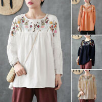 ZANZEA 8-24 Women Long Sleeve Tee Shirt Floral Embroidered Blouse Plus Size Top