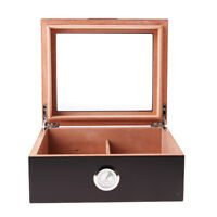 Spanish Cedar Wood Cigar Humidor W/ Humidifier Hygrometer Cigar Box -Black