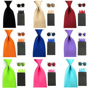 Men Solid Satin 8cm Wide Necktie 4 Fancy Folds Hanky Pocket Square Cufflinks Set