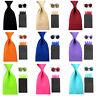 Men Solid Satin 8cm Wide Necktie 4 Fancy Folds Hanky Pocket Square Cufflinks Set