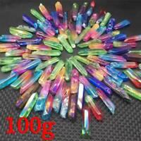 100g Large Lot Of Titanium Rainbow Aura Lemurian Quartz Crystal Point Healing_UK