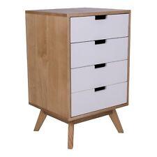 pkline Commode MICK avec 4 tiroirs Nature/Blanc Armoire Table de chevet