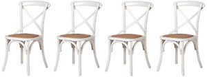 4 x Bentwood Cross Back Kitchen Dining Chairs cafe bistro white distress finish