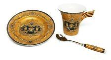 3 Piece Euro Porcelain Medusa Fine Bone China Tea Cup Set w/ Spoon - Gold Wing