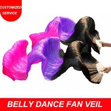 Belly Dance Fan Veil 100% Silk 1 pair(L+R) Bamboo Long Dance Veils US Shipping