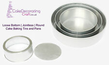 "Round Cake Baking Tins | Loose Base - 3"" Deep - 3 Tier ( 8 10 12 "")"