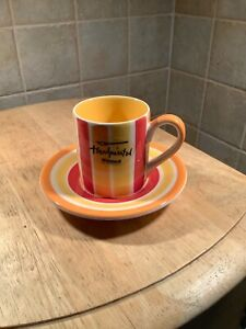 WHITTARD ESPRESSO CUP AND SAUCER ORANGE AND YELLOW STRIPES