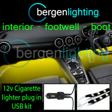 2x 1000mm AMARILLO USB 12v Mechero Interior Kit 12v DRL ambiental Iluminación
