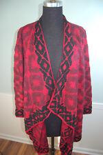 Lucky Brand Womens XL Red Open Aztek South West Style Long Sweater Drape Front