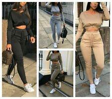 Ladies Co ord Crop Top Bottoms Set Womens 2pcs Loungewear Suit Tracksuit