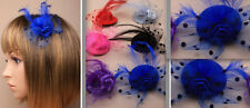 Purple Mini Hat 5cm Net & Feather Fascinator Hair Clip Slide With Rose Flower