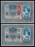 AUSTRIA 1000 1,000 KRONEN 1902 1919 P 59 BIG NOTE AUNC ABOUT UNC