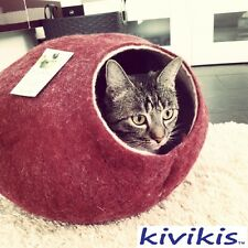 Cat cave bed,house from 100% wool for pet. handmade Color  Burgundy Dark  Size M