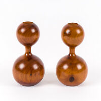 Vintage MCM-Style Bermuda Cedar Turned Wooden Candle Holders