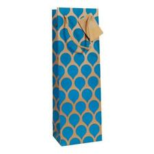 Wine Champagne Bottle Gift Bag Gold with Blue Teardrop Card Rope Handle