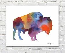 Buffalo Abstract Watercolor Painting Art Print by Artist DJ Rogers