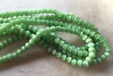 "FOUR (4) 16"" Strand Beadsmith 6MM CATS EYE (Fiber Optic) Beads - MINT GREEN  6mm"