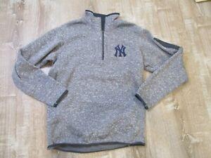 New York Yankees 1/4 Zip Pullover Men's Antigua Sweater M Fleece Lined Gray EUC