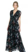Camilla And Marc Size 10 Black Winter Floral Print Summit Dress Maxi Sleeveless