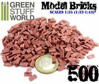 Green Stuff World 1:35 (1:32-1:43) Scale 500 Red Ceramic Model Bricks - Scenery