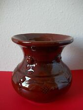 """Hand crafted decorative ceramic vase, brown with Latvian design, 5.75"""" tall"""