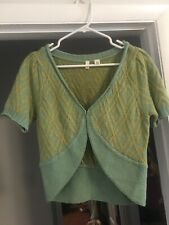 Anthropologie Moth Size L Pale Green Gold Cardigan Sweater R6 CUTE