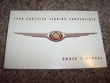 1998 Chrysler Sebring Convertible Owner Operator Manual JX JXi 2.4L 2.5L V6 4Cyl